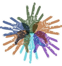 teamwork color hands around vector image vector image