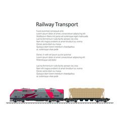 brochure locomotive with hopper car vector image