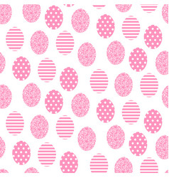 easter pink and white cute egg seamless pattern vector image vector image
