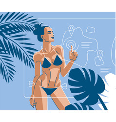 A woman on the beach in summer in swimsuit vector