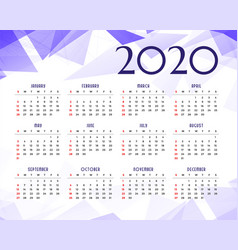 Abstract geometric 2020 new year calendar vector