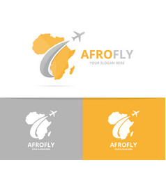 Africa and plane logo combination safari vector