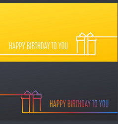 Birthday linear banner happy birthday gift box vector