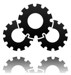 black gearwheel gear symbol maintance repair vector image