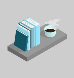books and a cup of coffee vector image