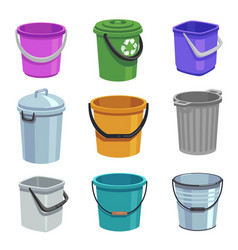 bucket and pail set empty containers with handle vector image