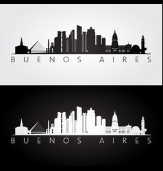 buenos aires skyline and landmarks silhouette vector image