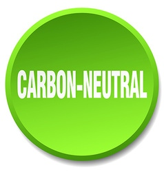 Carbon-neutral green round flat isolated push vector