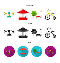 Carousel sandbox park tricycle playground set vector
