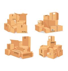 carton box stack big pile delivery brown vector image