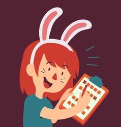 Cartoon Bunny Girl Filling Form vector
