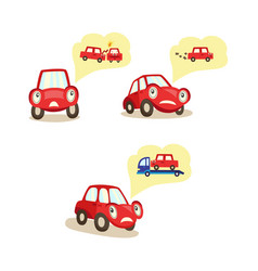 Cartoon car character worryed emotions set vector