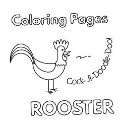 Cartoon rooster coloring book vector