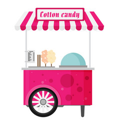 carts retail kiosk on wheels cotton candy flat vector image