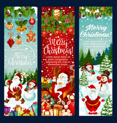 Christmas banner with new year holiday characters vector