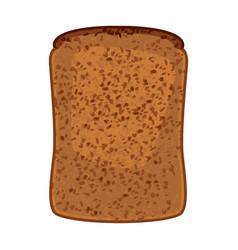 Closeup slice whole wheat bread isolated vector