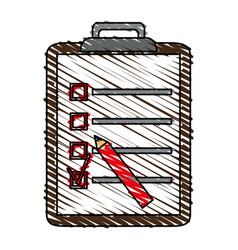 Color crayon stripe cartoon clipboard with vector