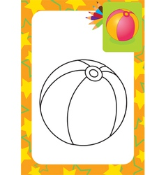 Coloring page toy ball vector