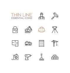 Construction - Thin Single Line Icons Set vector image