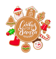 cookie for santa claus gingerbread man and woman vector image