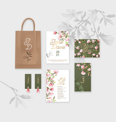 corporate identity branding templates with floral vector image