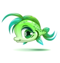 Cute cartoon little green girl fish vector