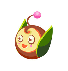cute fantastic plant character round shape nature vector image