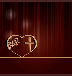 dark red design with heart and cross vector image
