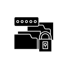 data encryption black icon sign on vector image