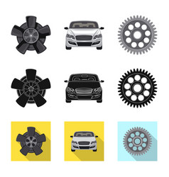 Design of auto and part icon collection of vector