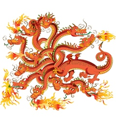 Dragon with twelve heads vector