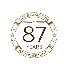 eighty seven years anniversary celebration logo vector image