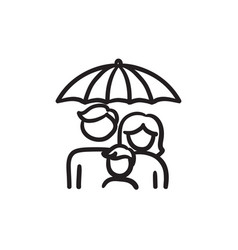 Family insurance sketch icon vector