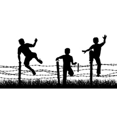 fence boys vector image