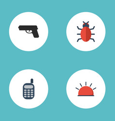 flat icons walkie-talkie gun virus and other vector image