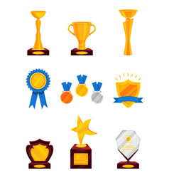 flat set of different prizes shiny golden vector image