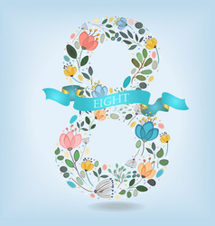 floral number eight with blue ribbon vector image