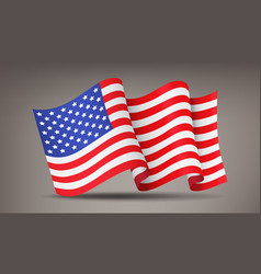 fluttering waving realistic american flag vector image