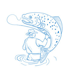 Fly fisherman trout fishing drawing vector