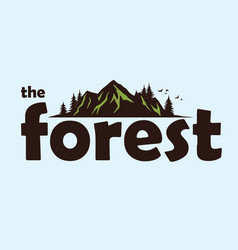 Forest mountain adventure logo template vector