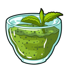 fresh puree of greens with a mint leaf vegetarian vector image