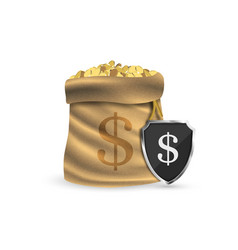 Full sack with gold coins the concept vector