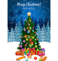 gifts under christmas tree merry xmas holiday vector image