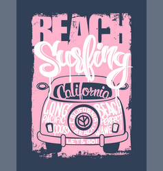 graphic for apparel beach surfer emblemt shirt vector image