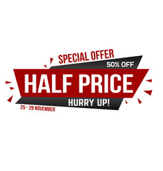 half price banner design vector image