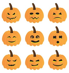 halloween pumpkins collection vector image