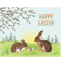 happy easter spring landscape forest rabbit vector image