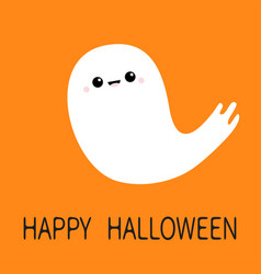happy halloween flying ghost spirit scary white vector image