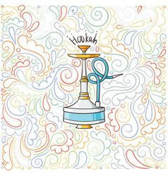 Hookah doodle on patterned background vector