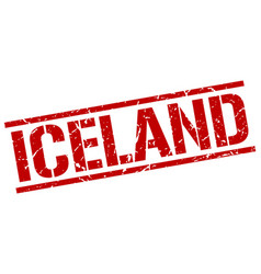 Iceland red square stamp vector